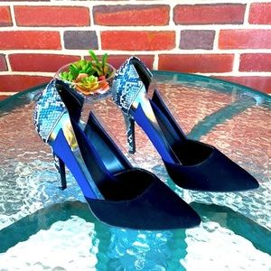 Charlotte Russe Black/ Blue/ Snakeskin Heels, 9.5